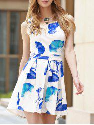 Trendy Scoop Neck Sleeveless Floral Print Hollow Out Women's Dress -