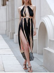 Sleeveless Backless Hollow Out Rope Design Maxi Club Dress