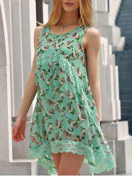 Country Style Scoop Collar Sleeveless Floral Print Mini Sun Dress For Women -
