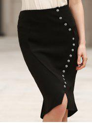 Anchor Printed Button Design High Waist Bodycon Skirt - BLACK