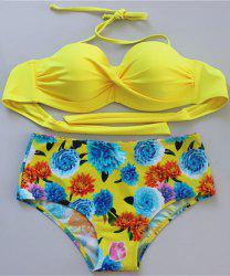 Stylish Halter Floral Push Up Women's Bikini Set