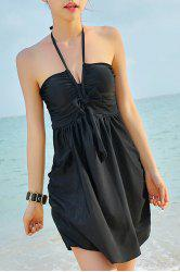 Stylish Halter Bowknot Cover Dress + Boxers Women's Swimsuit