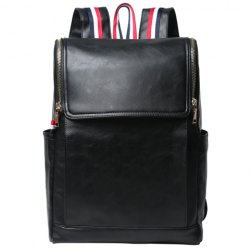 Retro PU Leather and Solid Color Design Backpack For Men - BLACK