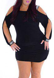 Stylish Plus Size Hollow Out Rhinestoned Women's Dress
