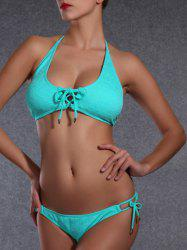 Stylish Halter Argyle Bikini Set For Women - MARINE GREEN XL