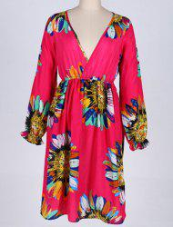 Graceful Plunging Neck Long Sleeve Floral Print Plus Size Dress For Women -