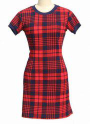 Stylish Round Neck Short Sleeve Bodycon Black and Red Gingham Dress For Women -