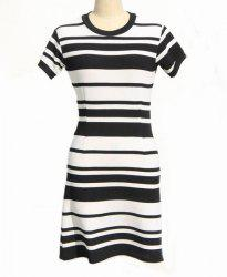 Classic Round Neck Short Sleeve Bodycon Black and White Stripe Dress For Women -