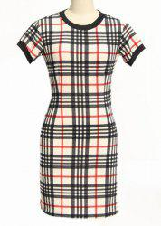 Classic Round Neck Short Sleeve Bodycon Gingham Dress For Women - BLACK AND WHITE AND RED
