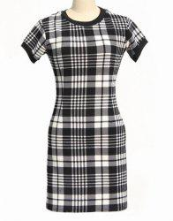 Classic Round Neck Short Sleeve Bodycon Black and White Plaid Dress For Women -