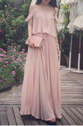 Spaghetti Strap Ruffled Floor Length Chiffon Dress -