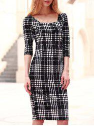 Chic Square Neck 3/4 Sleeve Bodycon Women's Dress