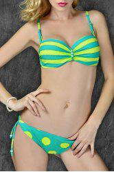 Stylish Spaghetti Strap Striped Polka Dot Women's Bikini Set