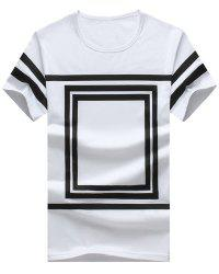 Square Printed Round Neck Short Sleeve T-Shirt For Men -