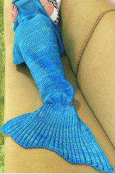Blue Knitted Sleep Cell Mermaid Blanket - BLUE