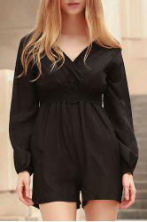 Stylish Plunging Neck Long Sleeves Solid Color Women's Romper -