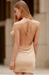 Spaghetti Strap Backless Club Bodycon Skimpy Dress