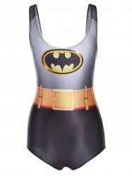 Charming 3D Batman Printed Bodycon One-Piece Swimwear For Women - BLACK GREY