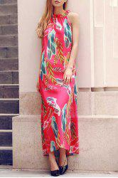 Stylish Round Neck Sleeveless Flower Print Chiffon Women's Dress