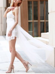 Lace Panel Maxi High Low Backless Prom Dress - WHITE