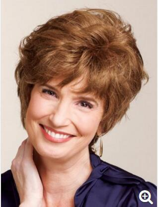 Elegant Short Light Brown Capless Fluffy Wavy Side Bang Synthetic Wig Women DESCRIPTION