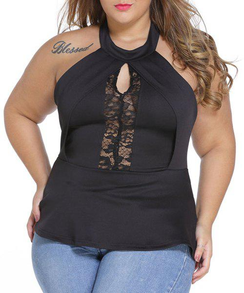 Unique Sexy Black Breast Cut Out Lace Spliced Plus Size T-Shirt For Women