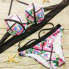 Sexy Halter Floral Print Underwire   Bikini Set For Women - BLACK/PINK S