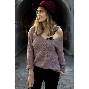 Casual V-Neck Solid Color Long Sleeves Pullover Sweater For Women - PALE PINKISH GREY L