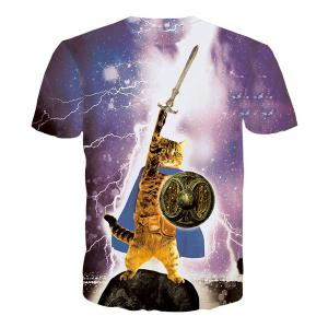 Vogue Mars Cat Print Round Neck Short Sleeves 3D T-Shirt For Men -