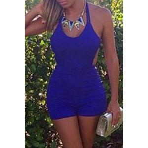 Stylish Spaghetti Straps Blue Backless Women's Playsuit - Blue - M