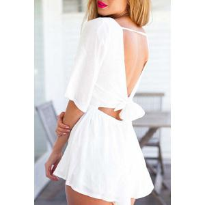Stylish Jewel Neck Half Sleeve White Backless Women's Playsuit -
