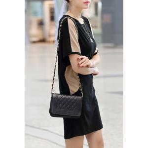 Casual Jewel Neck Batwing Sleeve Color Spliced Dress For Women -