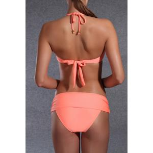 Trendy Halter Rhinestone Design Push Up Solid Color Bikini For Women - ORANGE XL
