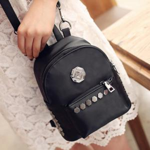 Trendy Solid Colour and Metal Design Backpack For Women -