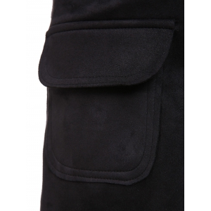Women's Stylish High Waist Black Pocket Design Shorts -