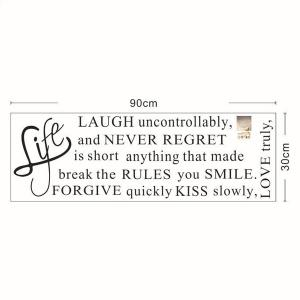 Quality Letters Pattern Removeable Quote Wall Stickers - BLACK