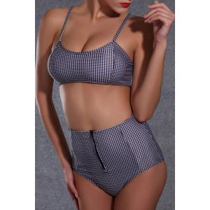 Checked High Waisted Bikini with Push Up Top -