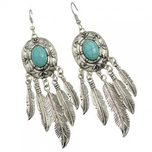 Pair of Faux Turquoise Tassel Feather Earrings -