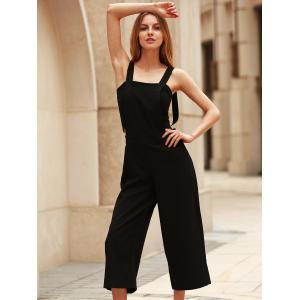 Stylish Loose-Fitting Black Cropped Overalls For Women -