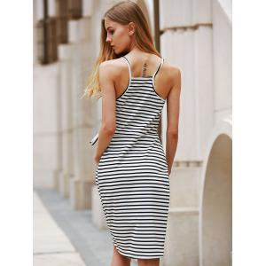 Self-Tie Dovetail High Low Striped Casual Dress - WHITE AND BLACK M