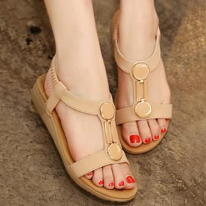 Casual Elastic Band and PU Leather Design Sandals For Women -