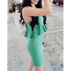 Women's Stylish Spaghetti Strap Candy Color Flounce Dress -