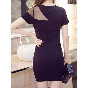 Women's Stylish Short Sleeve Jewel Neck Voile Splicing Dress -
