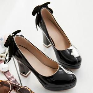 Stylish Bowknot and Patent Leather Design Pumps For Women - BLACK 38