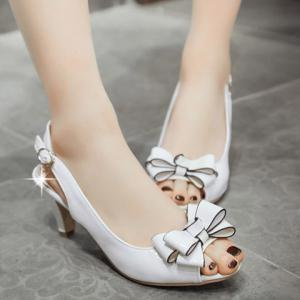 Stylish Patent Leather and Bowknot Design Sandals For Women -