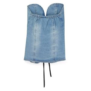 Chic Strapless Lace-Up Design Denim Tank Top For Women -