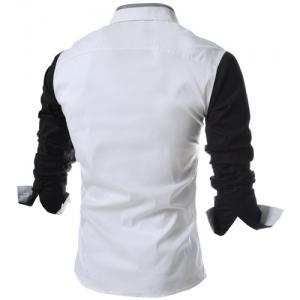 Turn-Down Collar Color Block Splicing Long Sleeve Shirt For Men -