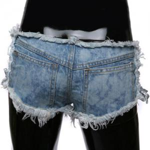 Trendy Side Lace-Up Design Ripped Denim Shorts pour les femmes -