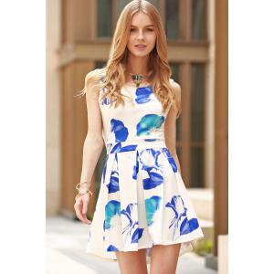 Stylish Round Collar Cut Out Flower Print Dress For Women -