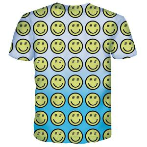 Cartoon Smile Emoticon Print Round Neck Short Sleeves T-Shirt For Men -